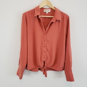 Cloth & Stone Tie Front Button Down Shirt